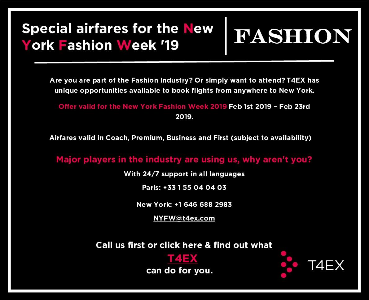 T4EX - Special airfares nyc fashion weeks - Last Version FW Feb 2019 (NYC FW)
