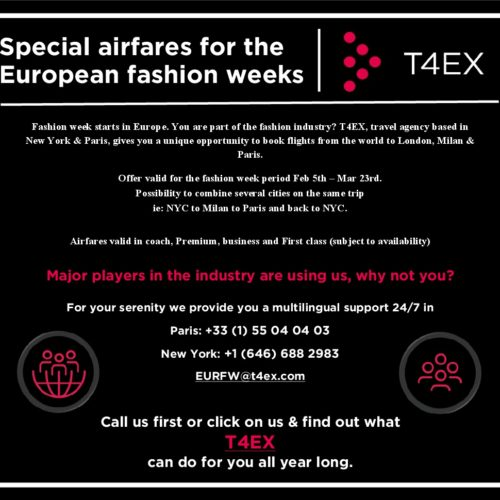 T4EX: Special airfares for the European fashion weeks 2019