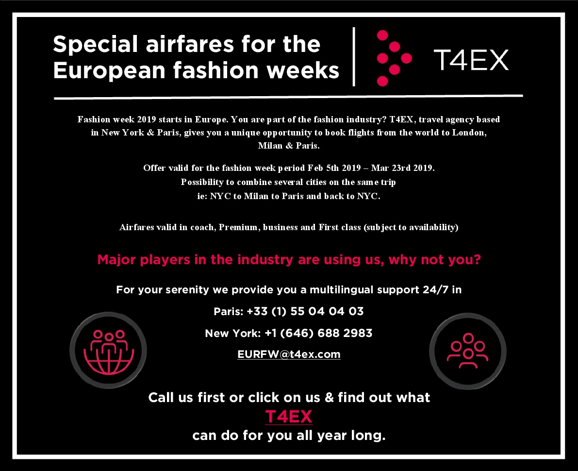 T4EX - Special airfares for the European fashion weeks - Version 2 FW Feb 2019