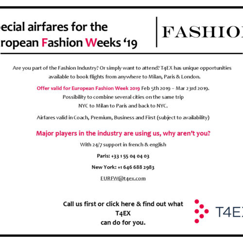 T4EX – SPECIAL AIRFARES FOR THE EUROPEAN FASHION WEEKS