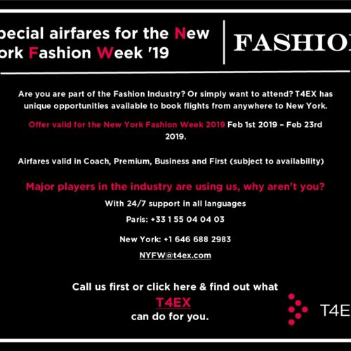 T4EX: SPECIAL AIRFARES FOR THE NEW YORK FASHION WEEK 2019