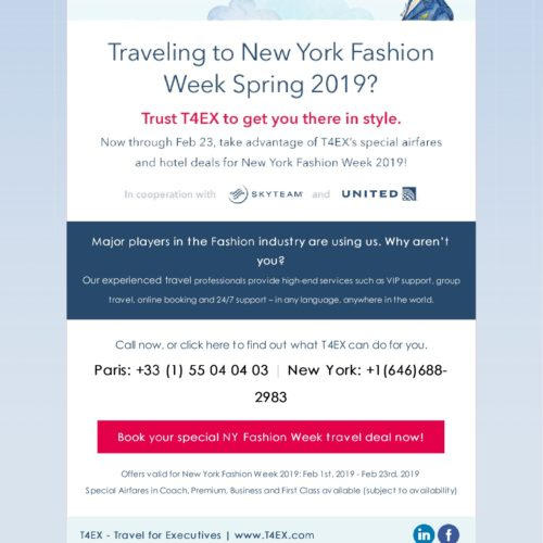 Special airfares and hotel deals for the New York Fashion Week in cooperation with skyteam partners & United