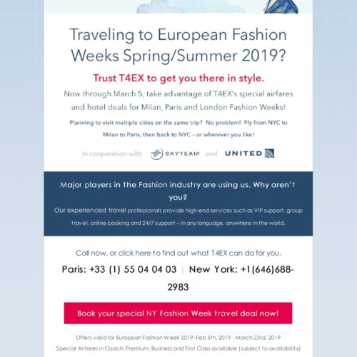 Special airfares and hotel deals for the European Fashion Week in cooperation with skyteam partners & United