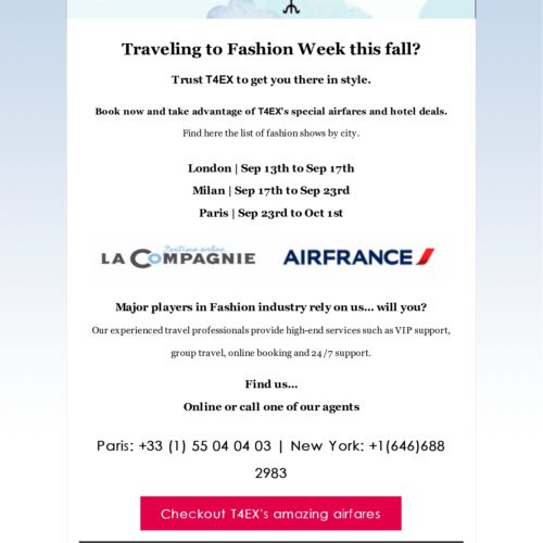 Special airfares and hotel deals for the Fall '19 Fashion Week in Paris, Milan and London…