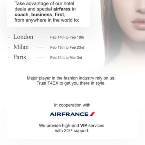 Special airfares and hotel deals for the Fall '20 Fashion Week in Paris, Milan and London…